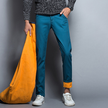 2016 New Fashion Male Cotton Business Casual Wool Liner Pants Men