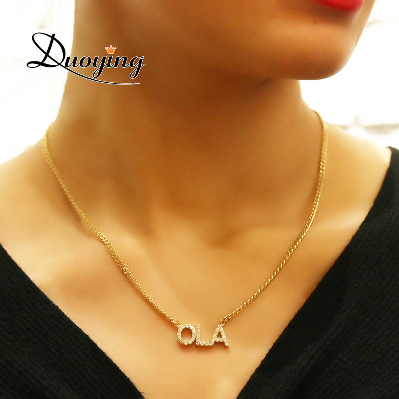 Duoying de cristal colgante de collar para las mujeres de cadena de piedra de Zirconia collares collar nombre personalizado NLK90