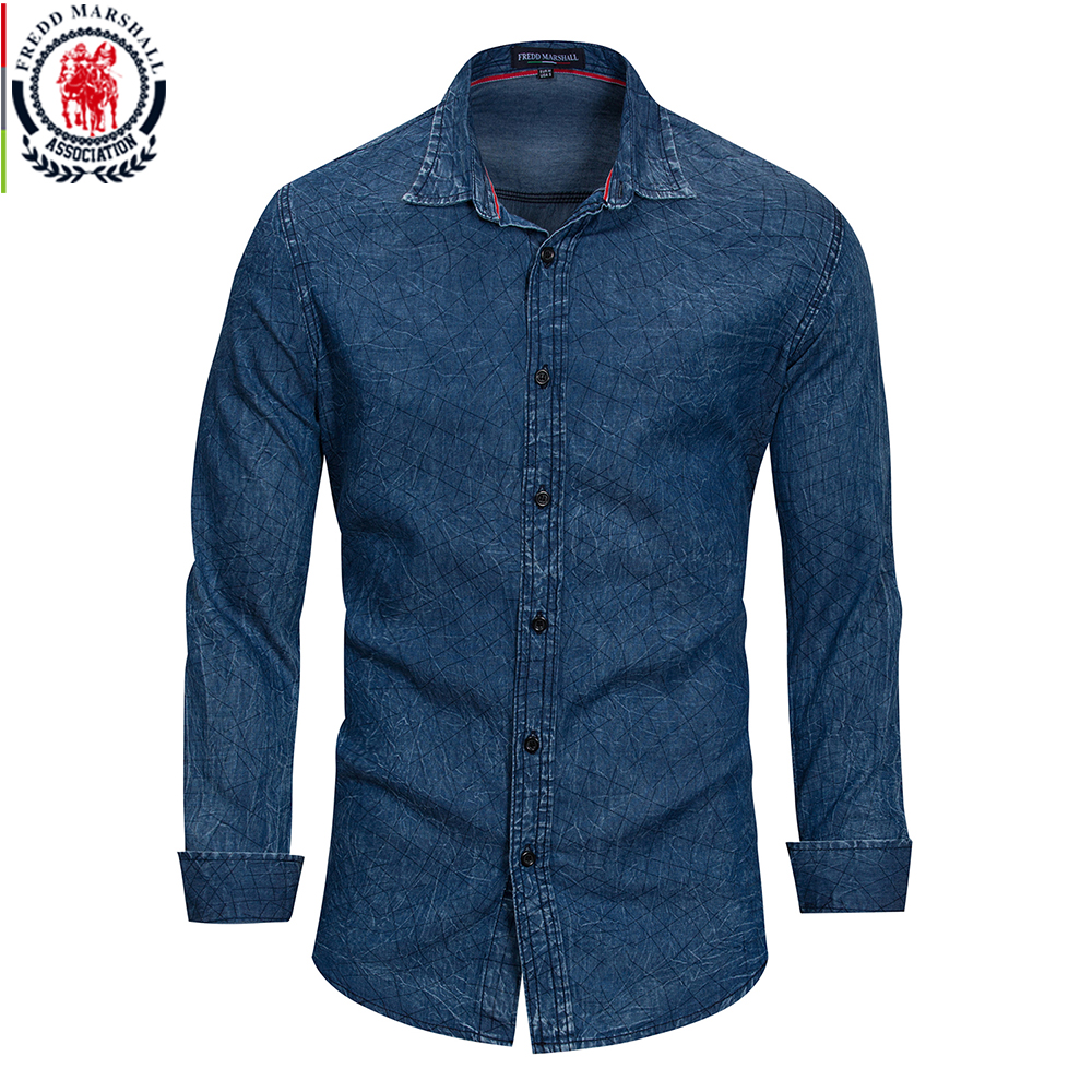 f2b2eb2b FREDD MARSHALL Men Clothes 2018 Printed Denim Shirt Men Long Sleeve Casual  Fashion Plaid Shirts Vintage Style 100% Cotton FM162-in Casual Shirts from  Men's ...