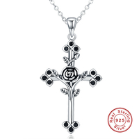 Fashion 925 Sterling Silver Black Luxury Zircon Letter A Pendant Necklaces For Women Jewelry