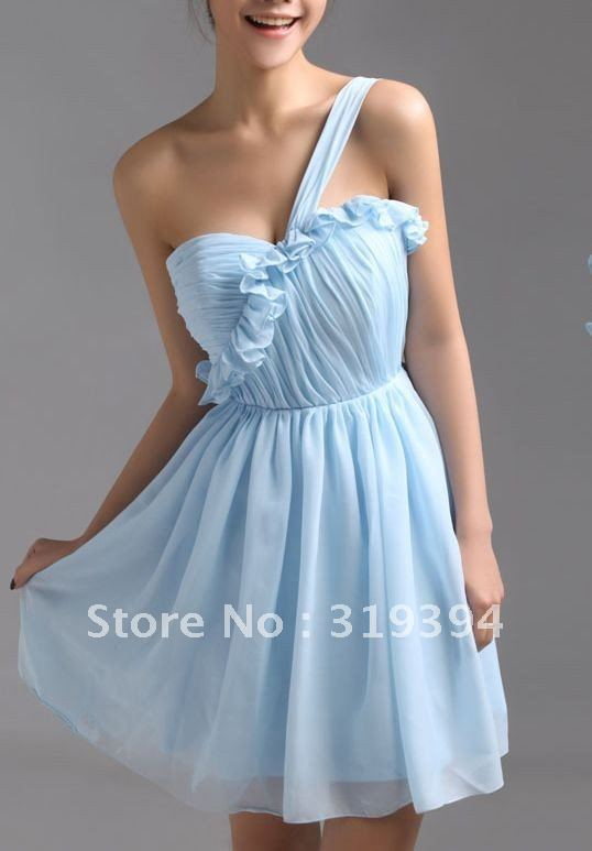 Customed Light Blue Chiffon One-Shoulder Sweetheart Short Bridesmaid Dress 2016 Mini Summer Dress Homecoming Dresses