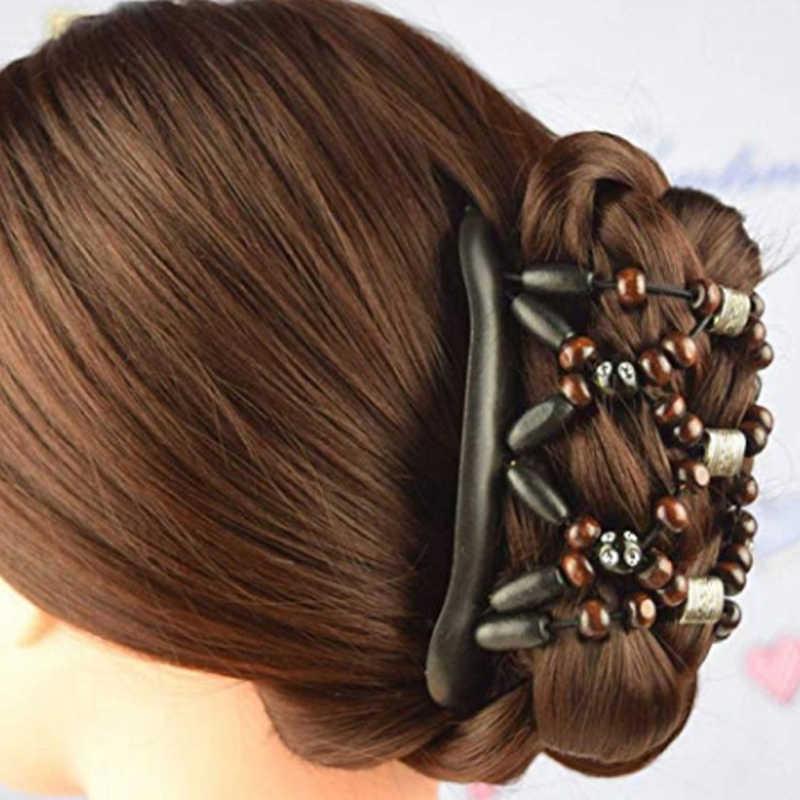 18 รูปแบบความยืดหยุ่น Hairpin ยืดผม Combs Pins สำหรับอุปกรณ์เสริมผม Retro Retro คู่ลูกปัดผมหวีคลิปลูกปัด
