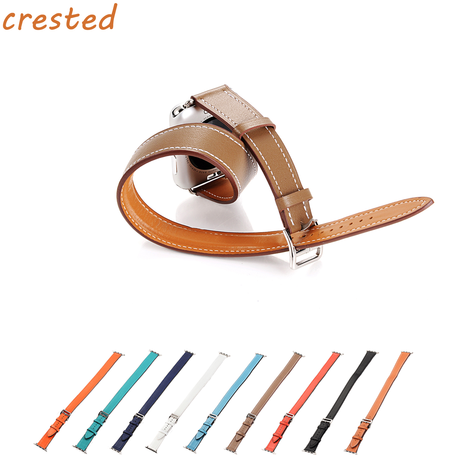 CRESTED Genuine leather band for apple watch 3 42mm/38mm iwatch serise3/2/1 Double tour Lit Leather wrist band bracelet strap crested nylon band strap for apple watch band 3 42mm 38mm survival rope wrist bracelet watch strap for apple iwatch 3 2 1 black