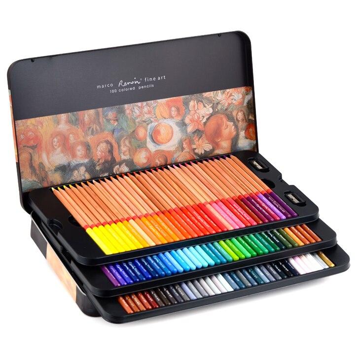 Marco renoir arte fina profissional lápis de cor oleosa 24/36/48/72/100 cores lápis de pintura com caixa de metal 3100