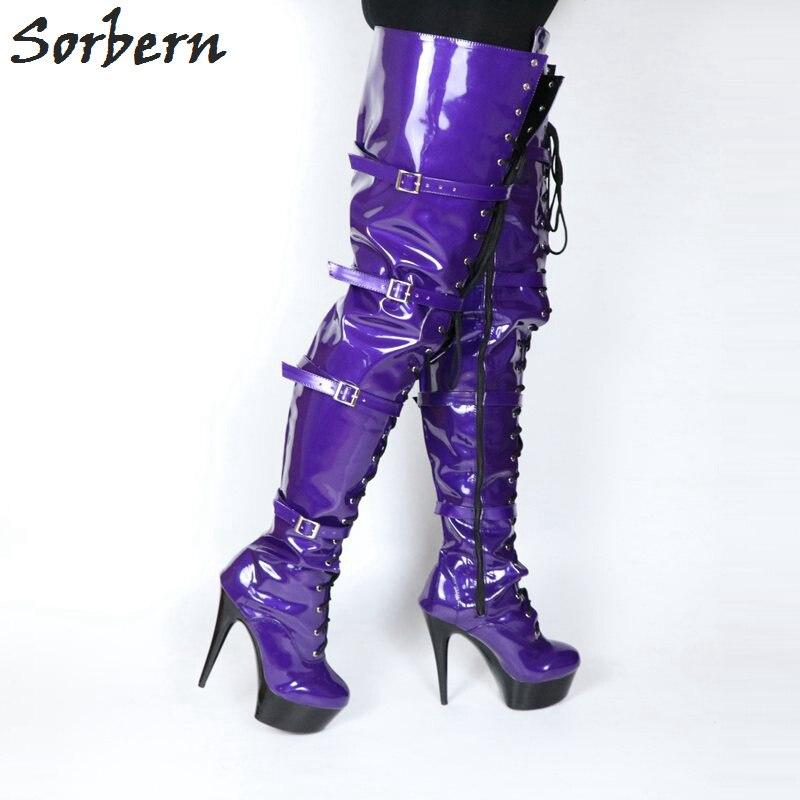 75 Printemps Cm Femmes pourpre 10 Chaussures Entrejambe Cuisse Butin Talons Longues forme Bottines Violettes Plate Lit Multi Haute Fétiche Taille 4nFdr4OYq