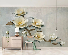 beibehang Custom silky papel de parede wallpaper three-dimensional pink magnolia tree branches embossed new Chinese background