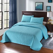 где купить Solid Color Quilted Bedspread Coverlet With 2PCS Pillowcases USA Queen King Size Bed linens 3PCS Bedding Sets по лучшей цене