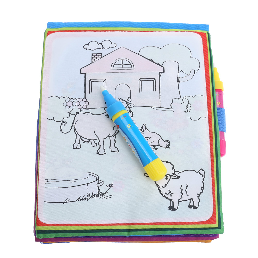Kids Magic Water Drawing Book Animals Painting Water Coloring Cloth Book with Magic Pen Children Drawing Early Educational Toy