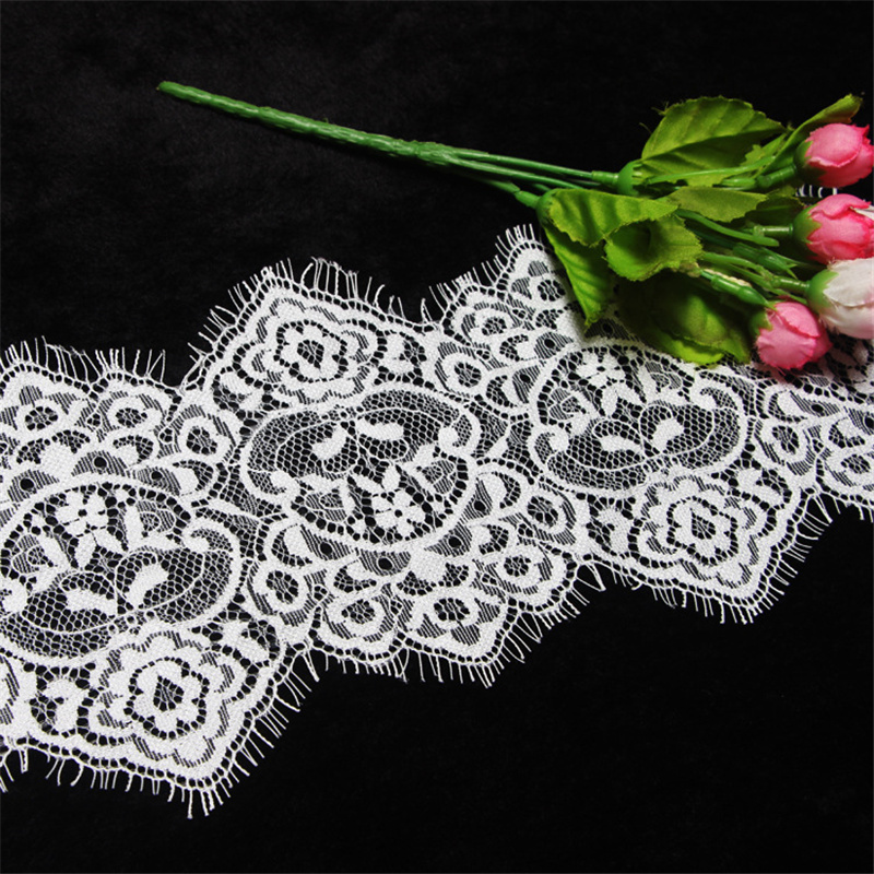 3Meters Embroidered Black White Eyelash Lace Ribbon Trim 14cm wide Wedding Dress Clothing Accessories Decoration Lace Material in Lace from Home Garden