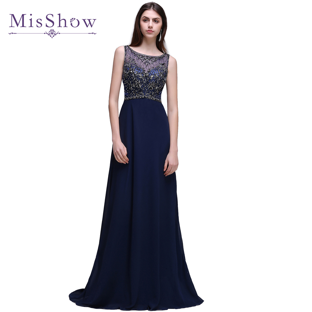 2019 Navy Blue Luxury Beaded Appliques Sexy Backless Long   Evening     Dresses   A-Line   Evening   Party   Dress   Gowns robe de soiree