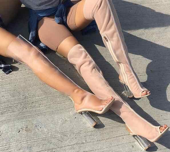 2019 ตาข่ายโปร่งใส PVC เซ็กซี่สีดำเปิดต้นขาสูงรองเท้าใสหนาส้น Gladiator รองเท้าแตะรองเท้าผู้หญิงฤดูร้อนรองเท้า