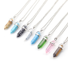 цены на Fashion Opal Stone Hexagonal Column Quartz Necklaces Natural Pink Crystal Pendant women Necklace for Bohemian women Jewelry в интернет-магазинах