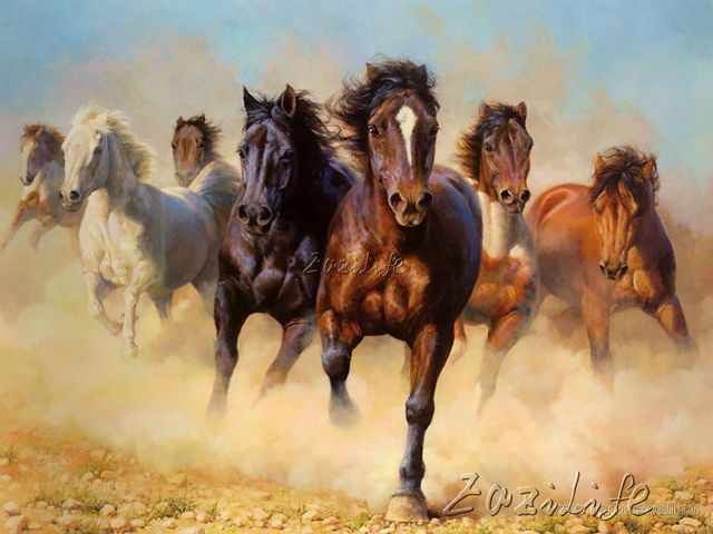 Hand Painted Horse Canvas Painting Wall Art Oil Paintings Modern Pictures For Living Room Decorative