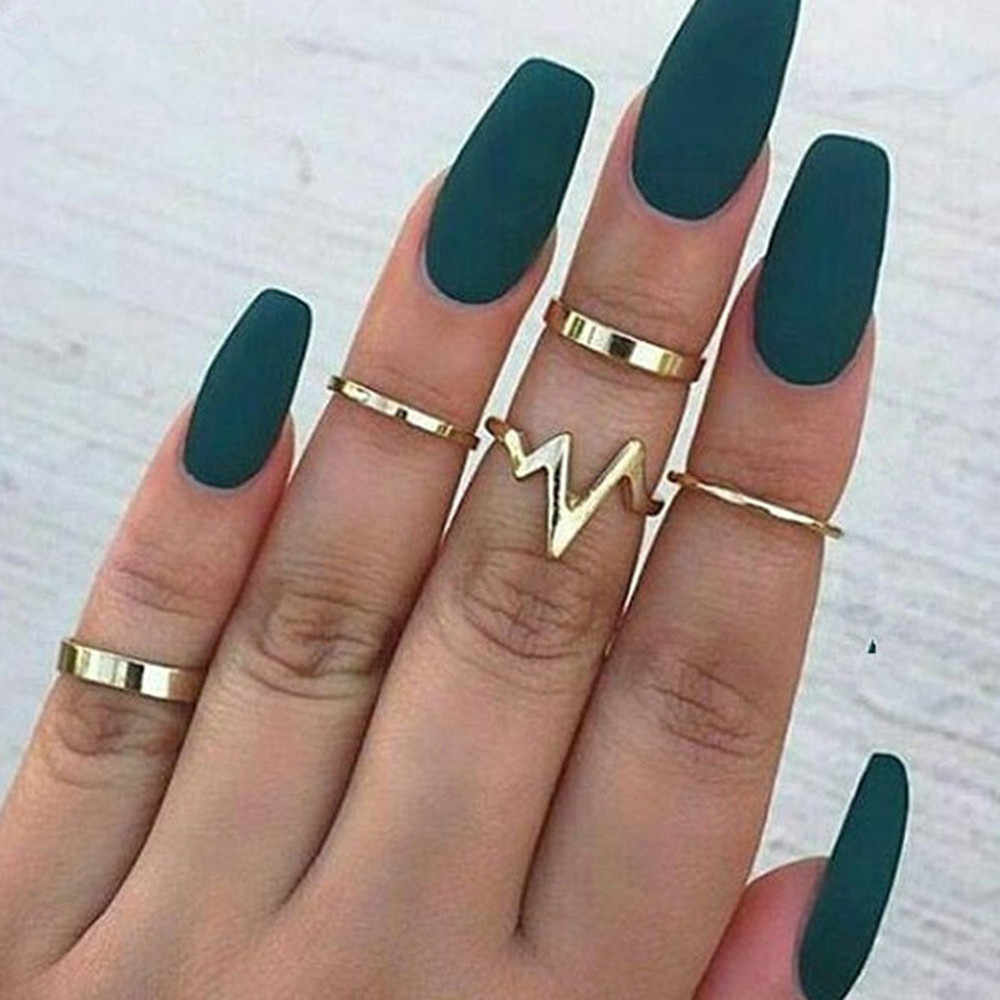 5pcs/lot Punk Style Metal Stacking Band Midi Finger Knuckle Rings Charm Lightning ECG Ring Set with Velvet Bag for Women Jewelry