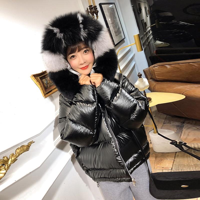 Duvet Lâche Col Réel Gold Fourrure Parka Le Manteau Vers Outwear V228 Plume Bas Canard Blanc D'hiver pinck Femelle Veste De Épais À Capuche Femmes black 90 Chaud Fox 5OAqwHx