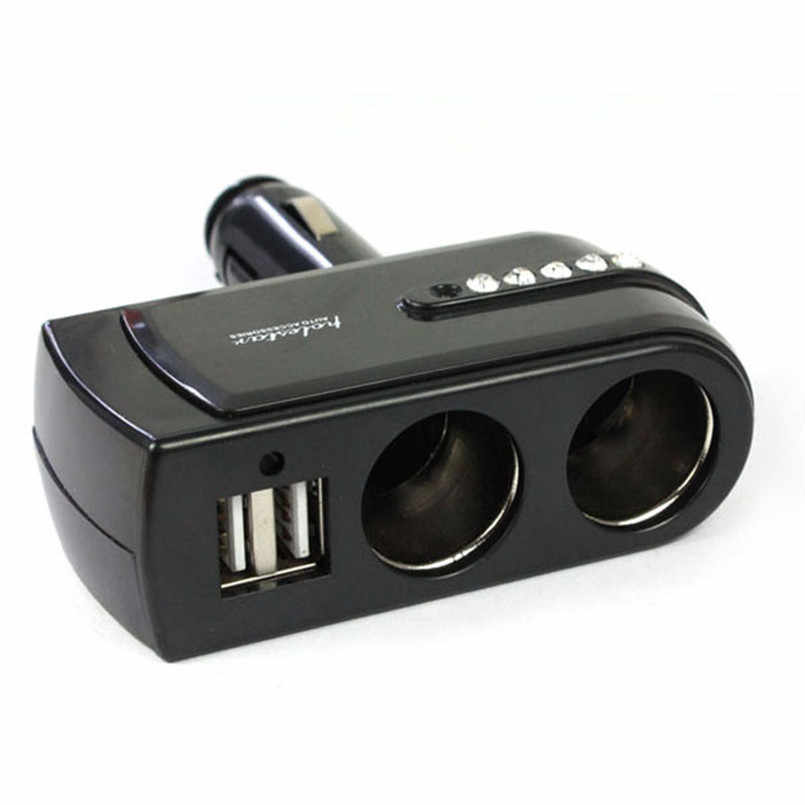 New Black 2 USB supply Charger + dual plugs Car Cigarette Lighter extender Splitter Car-styling for mobile phone charger Auto