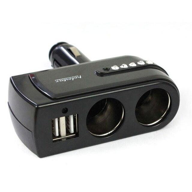 Nuevo cargador de suministro negro 2 USB + doble enchufe encendedor de coche extensor divisor de coche-estilo para teléfono móvil cargador Auto