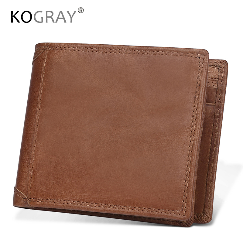 KOGRAY Genuine Leather Male Wallet Quality Natural Brand Rfid Wallets Carteira Masculina Mens Purse Wallet Credit Card Holder sale carteira feminina genuine leather bag brand wallet men kangaroo design genuine leather wallets mens carteira masculina