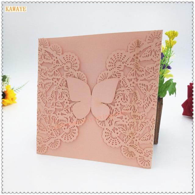 10pcs Openwork Butterfly Wedding Invitation Laser Engraving Wedding