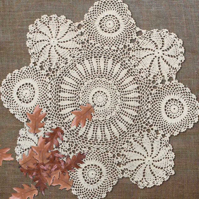 Yazi Crocheted Cotton Hollow Floral Handmade Tablecloths Round Doily