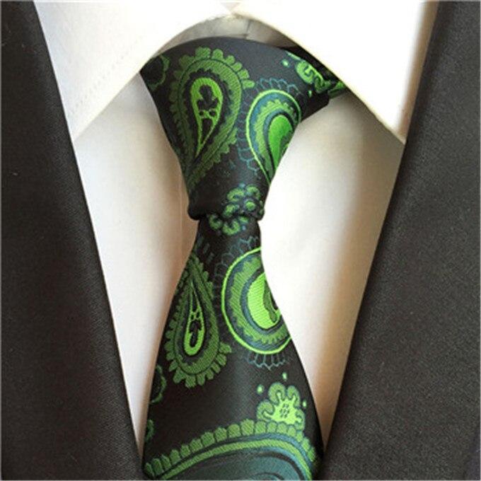 SCST Brand New Green Gravata 8cm Slim Silk Neckties Floral Print Wedding Neck Tie Corbatas Mens Ties For Men Tie Cravate A006