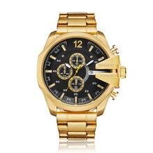 Golden Stainless Steel Quartz Watch Men Waterproof Military Mens Wrist