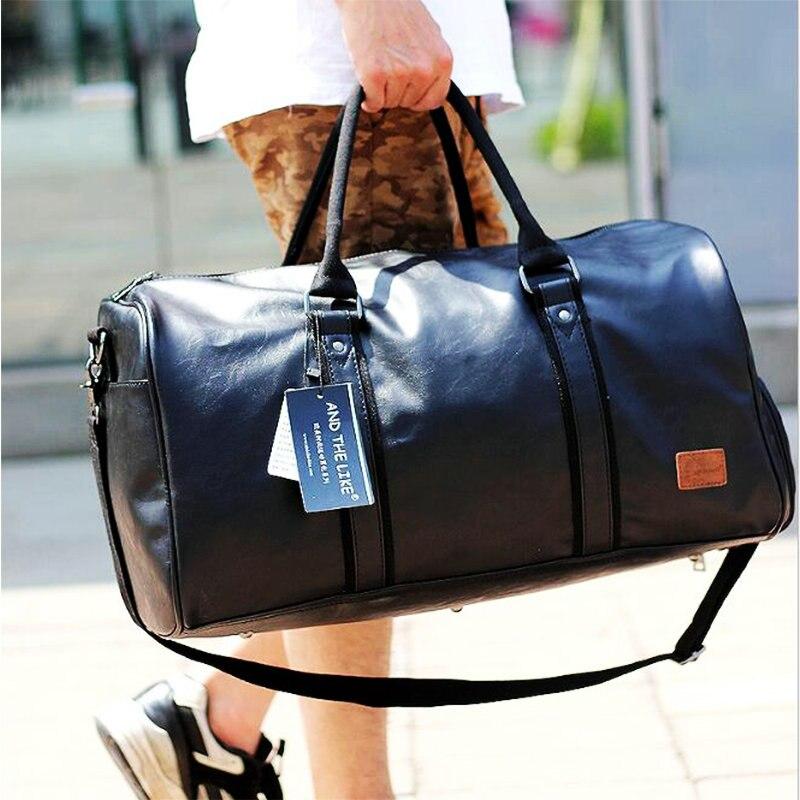Купить с кэшбэком Leather Gym Bags Men PU Travel Crossbody Bags With Shoe Compartment Waterproof Gym Sport Bags Outdoor Training Storage Handbag