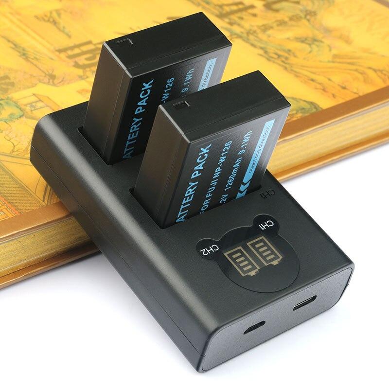 2 PC NP-W126 W126S Caméra Bttery et Double Chargeur pour Fujifilm X-T20 XT20 X100F X-H1 XH1 X-A5 XA5 X-A20 XA20 x-E3 XE3 X-T3 XT3