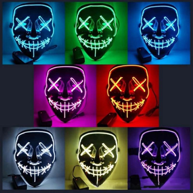 Máscara Led fiesta de Halloween máscara de la mascarada máscaras de Maske luz resplandor en el oscuro Mascara Horror Maska brillante enmascarado purga