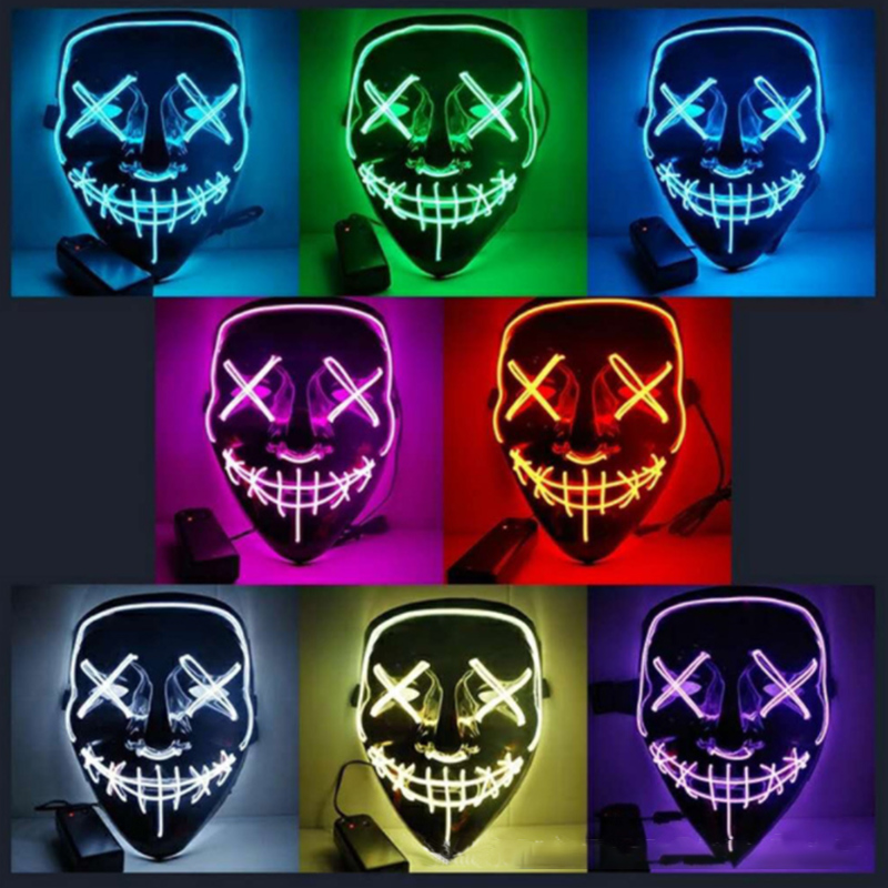 Máscara de Halloween LED luces para fiesta máscaras la purga año de elección grandes máscaras divertidas Festival Cosplay disfraz suministros resplandor en la oscuridad