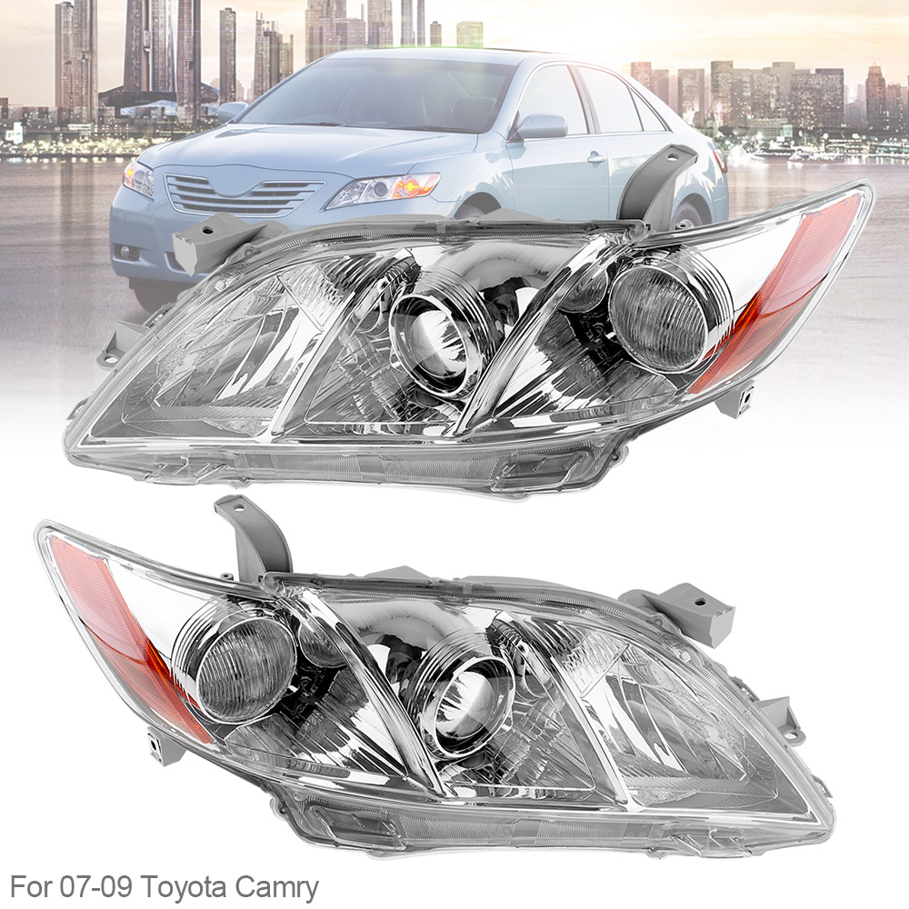 1 Pair Waterproof Durable Headlamps Clear Projector Left And Right Headlights For 07 09 Toyota Camry