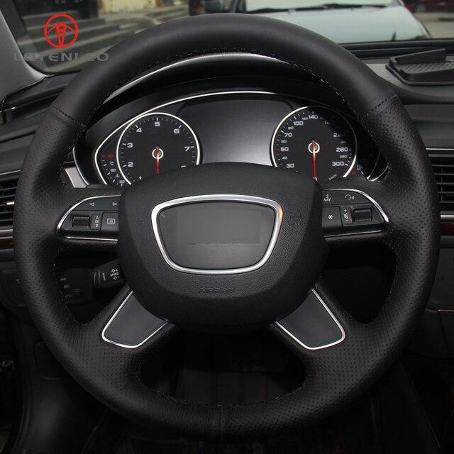 LQTENLEO Black Artificial Leather DIY Car Steering Wheel Cover for Audi Q7  2012-2015 Q3 Q5 2013-2016 A4 (B8) 2014 2015 A6 (C7)