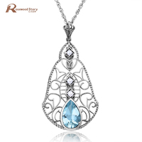 Real 925 Sterling Silver Natural Pearl Pendant Sky Blue Rhinestone Women Jewelry Necklaces & Pendants Collares Accessories Gift