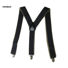 2017 New Fashion Men Suspenders 3.5*100cm Adjustable 3 Clips Braces Heavy Duty  Dot For Mens