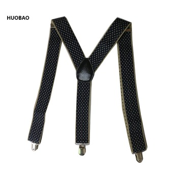 2018 New Fashion Men Suspenders 3.5*100cm Adjustable 3 Clips Braces Heavy Duty  Dot For Mens