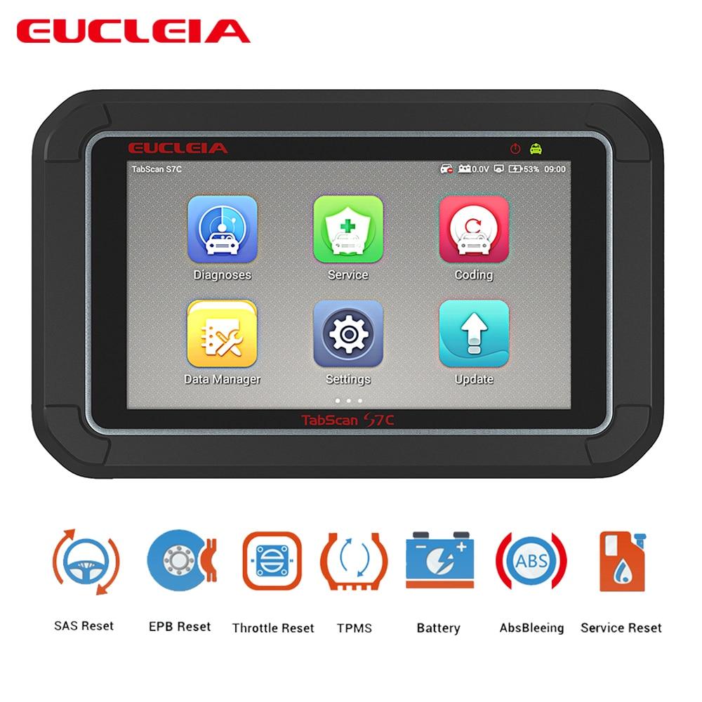 Multifonction Auto Automobile Scanner OBD2 Voiture Diagnostic ABS Saignement EPB Gaz SAS de Réinitialisation Réinitialisation EUCLEIA S7 S7C 7 tactile Écran