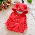 Invierno Otoño Bebés de Algodón Arco con Desgaste Del Partido de la Princesa Con Capucha Bebé Chaqueta Niños ropa de Abrigo Abrigos casaco roupas de bebe