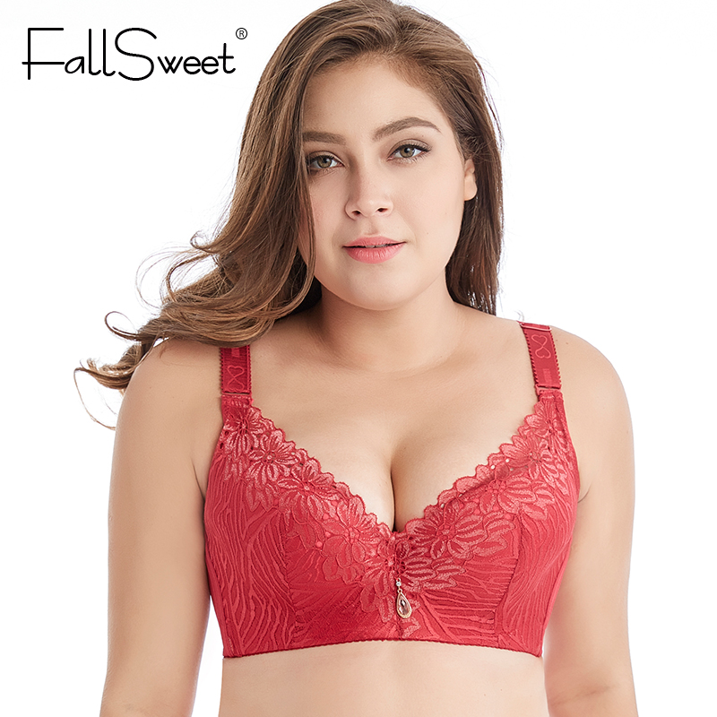 01449f7eda815 FallSweet Plus Size Lace Bras for Women High Street Lingerie D E Cup Push  Up Underwire Brassieres Femme