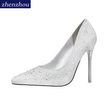 2ed650a89b761c Free shiping shoes Woman 2017 fashion Sweet thin heels shoes shallow  pointed toe shoes Color drill water drill single shoes