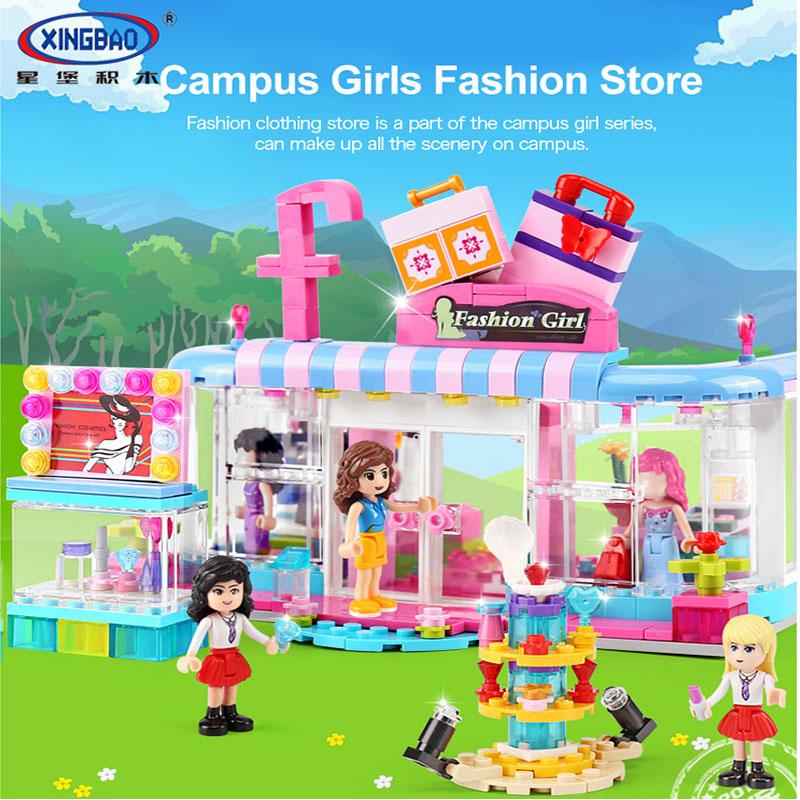New XINGBAO 12010 453Pcs City Girls Series The Fashion Clothing Store Set Building Blocks Bricks Educational Kid Toys Gift