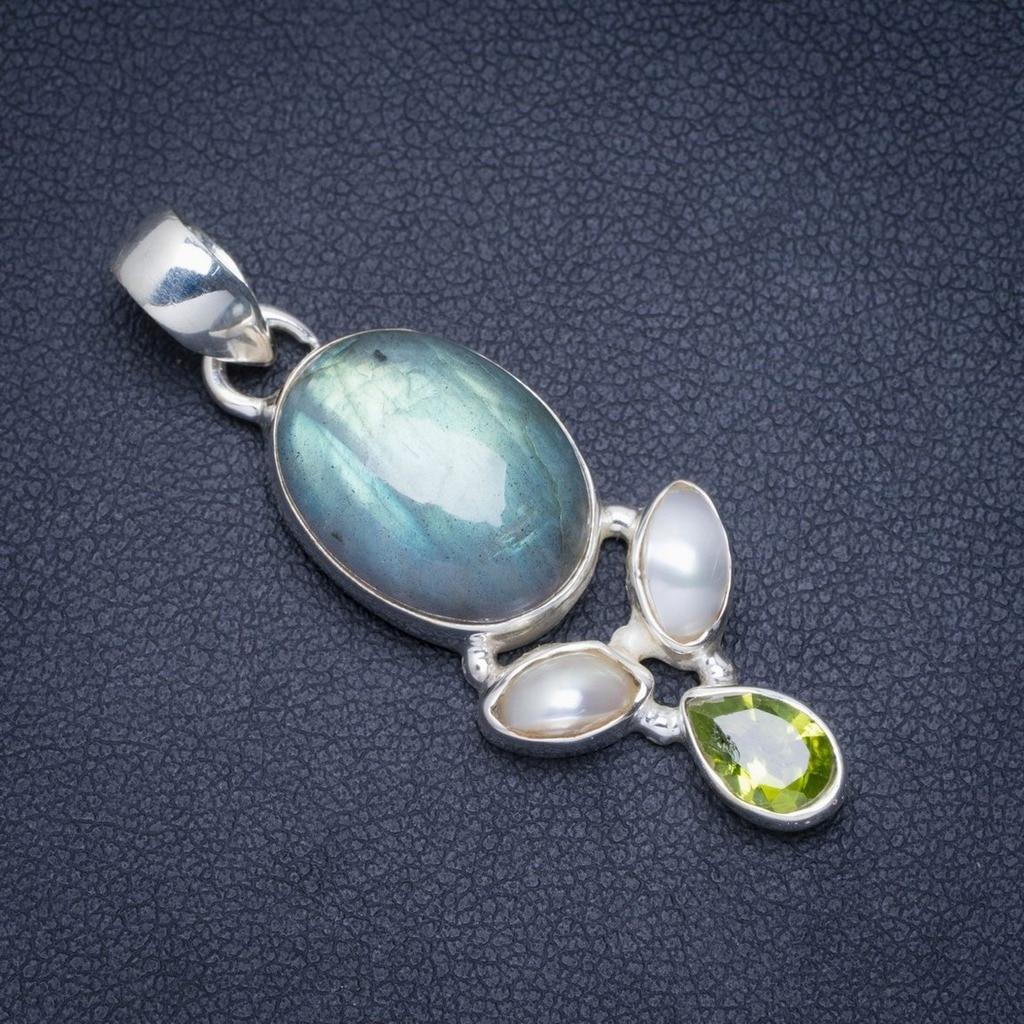 Labradorite de feu bleu naturel, perle de rivière et péridot 925 pendentif en argent Sterling 1.75