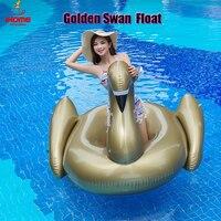 Comparar Cisne dorado de pvc de 1,9 m, flotador de agua inflable para jinete, verano, lago, natación, salón, piscina, flotador chico gigante manejable Swan