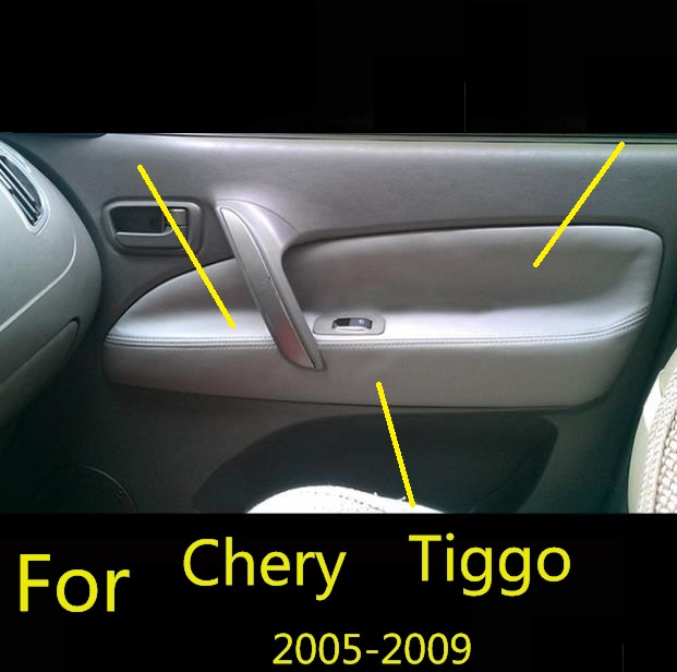 For Chery Tiggo 2006 2007 2008 -2009 Microfiber Front/Rear Door Panel Armrest Leather Cover Protective Trim with Mount Fittings(China)