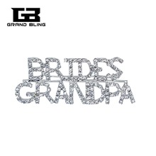 Crystal Wedding Theme Jewelry Gift BRIDES GRANDPA Word Brooch Pin for Brides Relative