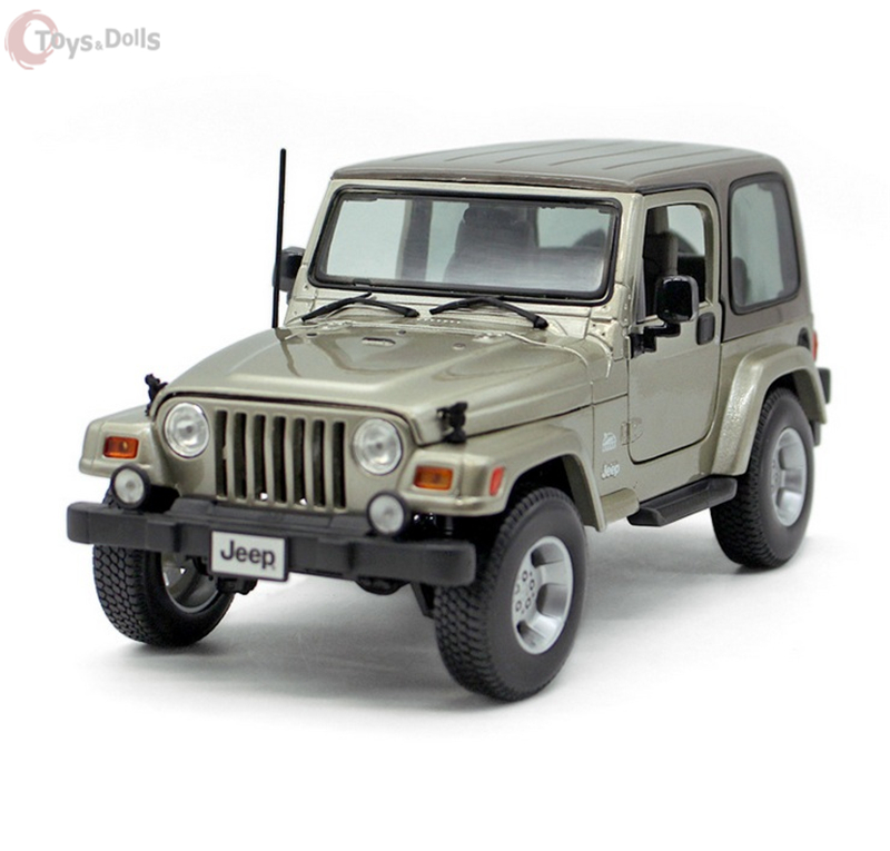 Bburago 1:18 Jeep Wrangler Khaki Diecast Model Roadster Car Vehicle New In box W sound & light Kids Toys Gift Collection bburago 360 challengr 1 24 alloy car model toys diecasts