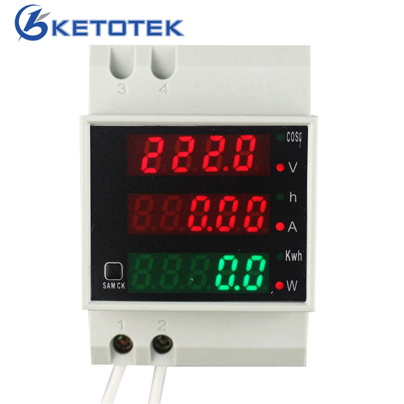 цена на Din Rail AC 110V 220V 380V 0-100.0A Ammeter Voltmeter Volt Amp Meter Active Watt Power Factor Time Energy Voltage Current Gauge