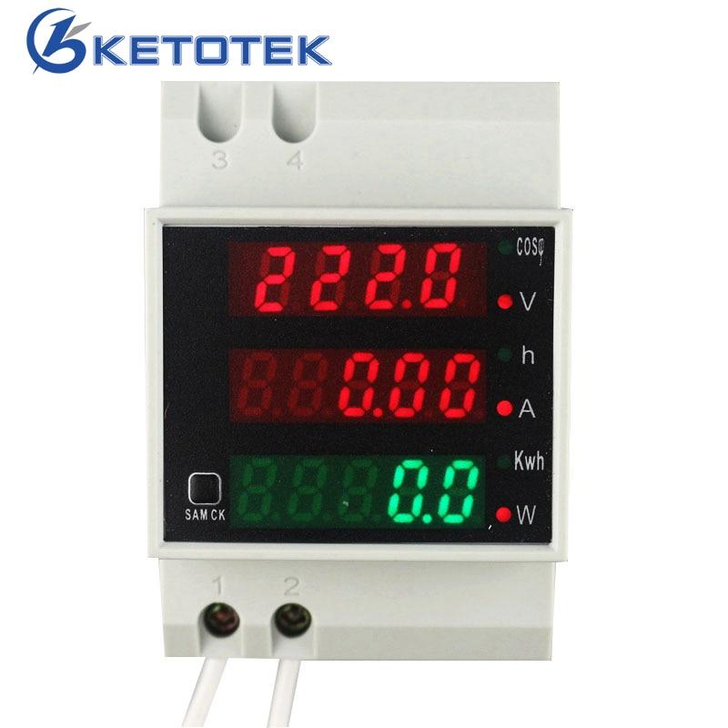 Rail Din AC 110 V 220 V 380 V 0-100.0A Ampèremètre Voltmètre Volts Amp Meter Active Watt Power Facteur Temps D'énergie Tension Courant jauge
