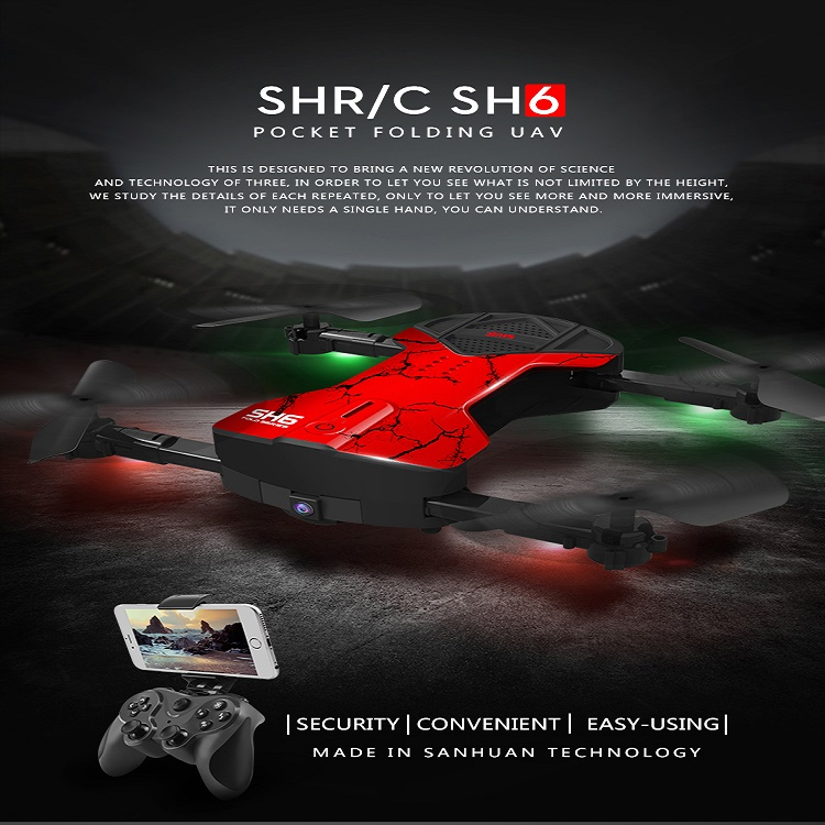 HR SH6 with 2MP Wifi FPV Camera Foldable RC Drone One Key Auto Returned Altitude Hold 2.4G 4CH RC Quadcopter VS H37 E50 E50S T37 jjr c jjrc h26wh wifi fpv rc drones with 2 0mp hd camera altitude hold headless one key return quadcopter rtf vs h502e x5c h11wh