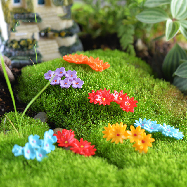 2Pcs Plastic Flowers Model Figures Micro Landscape Fairy Garden Terrarium  Figurine Decoration Miniature DIY Ornaments
