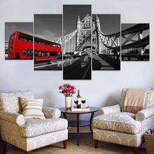 5 Piece frame Canvas Painting Print on Wall Art London Bus Bridge Landscape Picture Home Decor for Modular